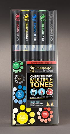 Chameleon Art Products Inc. - Chameleon Color Tones - 5 Pen Primary Tones Set , $26.99 (http://store.chameleonpens.com/chameleon-color-tones-5-pen-primary-tones-set/)