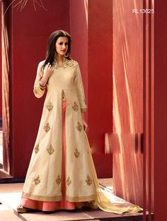 Shop Designer Lehenga Kurtas, Indo western lehengas online : Super glamorous cream and peach khadi silk readymade lehenga and kurta is spruced up with zari work. Paired with a matching dupatta. *Call / Whatsapp / Viber : +91-9052526627 *Email : customercare@natashacouture.com *Worldwide Shipping | Free shipping in India | Cash on delivery *