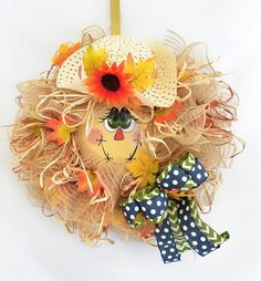 Your place to buy and sell all things handmade Harvest Decorations, Centerpiece Decorations, Autumn Wreaths, Wreath Fall, Diy Wreath, Wreath Ideas, Mesh Wreaths, Scarecrow Wreath, Thanksgiving Projects