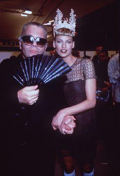 Linda Evangelista and Karl Lagerfeld backstage at Chloe 1994