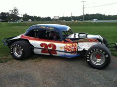 T his fully restored and documented 1940 Cadillac bodied modified race car was raced by Dave Lape, Fonda Speedway, in the early 70's. The car is completely restored and in race ready or show condition, fresh GM 6 cylinder 250, 4 barrel carb, 3 speed trans, quick change rear. Painted in the original 70's race colors. 2 sets of wheels and tires included.This car has been set up for dirt or asphalt vintage racing.