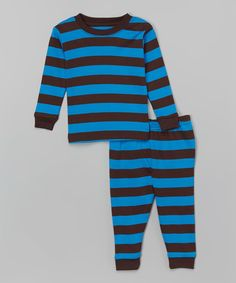 Love this Leveret Chocolate & Blue Stripe Pajama Set - Infant, Toddler & Boys by Leveret on #zulily! #zulilyfinds