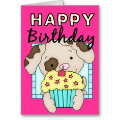 Puppy Dog with Cupcake Happy Birthday Card d4
