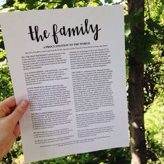 The Family a Proclamation to the World Printable.