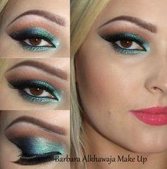 carnival makeup #green shadow #wingedliner #biglashes  - bellashoot.com / bellashoot iPhone & iPad app