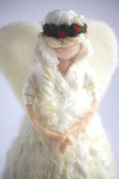 Needle Felted Waldorf Silk Angel Tree Topper! 10-12 inches tall! One of a kind needle felted wool Waldorf Silk Angel Tree Topper for the Seasonal Nature Table! Designed and crafted by Fiber Artist Willow Wild, this cute Waldorf Angel Tree Topper makes a thoughtful gift for