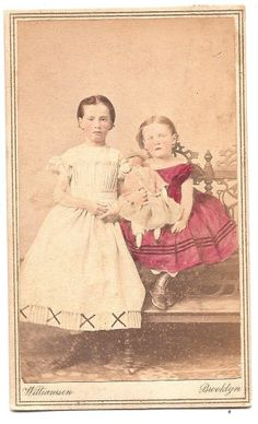Civil War Era CDV Hand Colorized - Two Young Girls With Doll Brooklyn NY