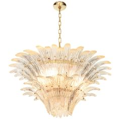 1stdibs | Mid Century Italian Glass Chandelier by Barovier and Toso