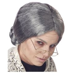 Adult Grey Grandma Wig ($15) ❤ liked on Polyvore featuring costumes, halloween costumes, multicolor, adult halloween costumes, wigs costume, adult costume, colorful halloween costumes and colorful costumes
