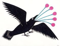 Choked Raven by Kenojuak Ashevak, Inuit artist (G203027)