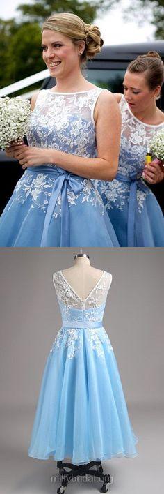Tea-length Bridesmaid Dresses, Lace Bridesmaid Dresses, Beautiful Blue Bridesmaid Dresses, Bridesmaid Dresses 2018