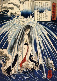kuniyoshi hatsuhana_doing penance under the tonosawa waterfall