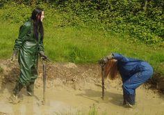 Uploaded from Yahoo! Red Hunter, Family Costumes, Rain Wear, Rainy Days, Mud, Women, Hunters, Latex, Projects