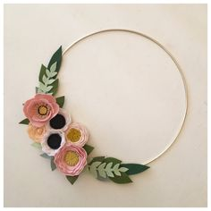 FELT FLOWER WREATH // Gold Wreath // Modern Wreath by HoneyCrown