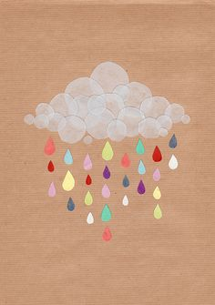 Rainbow Raindrops - perfect for a nursery painting. I'll do this if I have time.