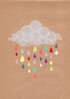 Wie wohl die Welt ausschauen würde, wenn vom Himmel lauter bunter Regentropfen fallen würden?...