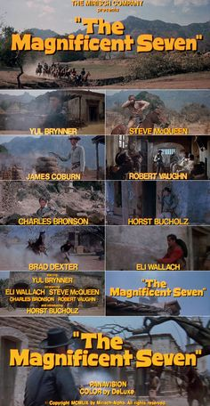 The Magnificent Seven rousing uplifting soundtrack.fun film, marvelous snippets of greatness , the hand clap, the graveyard ride. Music rides along merrily with it. Movie Titles, Film Movie, Movie Posters, Western Film, Western Movies, Hollywood Cinema, Old Hollywood, Yul Brynner, Great Movies