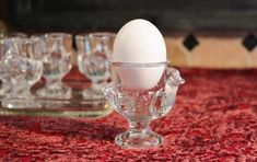 Set of 6 French Glass Egg Cups - Figural Chick Clear Glass Egg Holders - Boiled Egg Serving Cups - Footed Glass Egg Cups