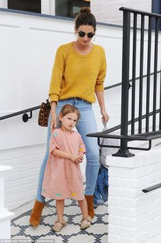 Careful watch: The 30-year-old kept a close eye on her three-year-old daughter, who she shares with musician husband Caleb Followill