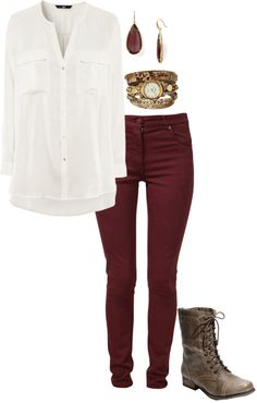 """Untitled #125"" by paypay22597 on Polyvore Maroon Pants Outfit, Burgundy Jeans Outfit, Colored Pants Outfits, Maroon Jeans, Colored Jeans, Jean Outfits, Cute Outfits, Fashion Outfits, Maroon 5"