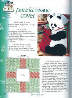 Plastic Canvas Tissue Boxes, Plastic Canvas Crafts, Glue Crafts, Ribbon Crafts, Plastic Canvas Patterns, Panda, Plastic Canvas Christmas, Box Patterns, Christmas Settings