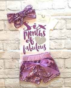 Baby Girl Clothes, Lavender Sequin Short & Headband Set, Sequin Short Sets, Lavender Sequin Shorts and Headbands - BellaPiccoli Baby Shirts, Shirts For Girls, Onesies, My Baby Girl, Baby Love, Half Birthday Baby, Mileena, Cute Baby Clothes, Baby Month By Month