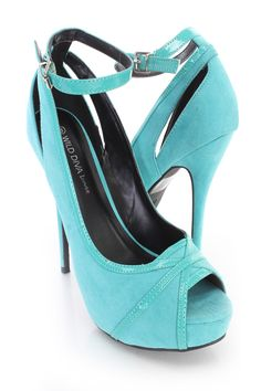 Turquoise Ankle Strap Peep Toe High Heels Faux Suede