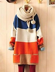 bloco de cor azul / laranja camisola solta, pocket manga longa ocasional das mulheres