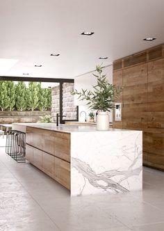 Wood Marble Kitchen 3D Visualisation