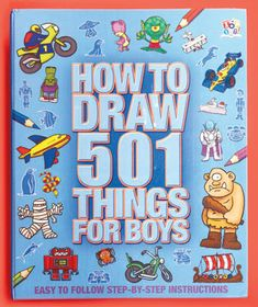 """501 Things to Draw for Girls or Boys Drawing is easy for girls and boys with these step-by-step illustrated instructions. They'll learn how to draw 501 things with these books. The Girls' book will teach her how to draw fairies, pets, sea animals, horses, fashion, princesses and more. The Boys' book shows him how to draw things that go, monsters, fantasy characters, heroes, pirates, dinosaurs and more. Hardcover. 256 Pages with dividers and spiral binding. 11-1/2"""" x 9-3/8"""". $6.95 each"""