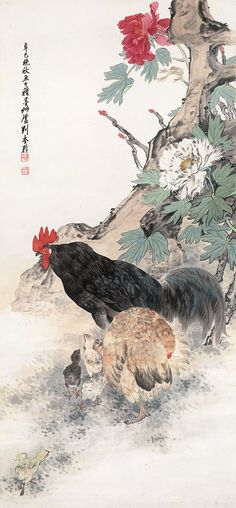 Flowers and Birds,Cock wealth,rice paper prints,traditional Chinese painting,customize painting,giclee prints