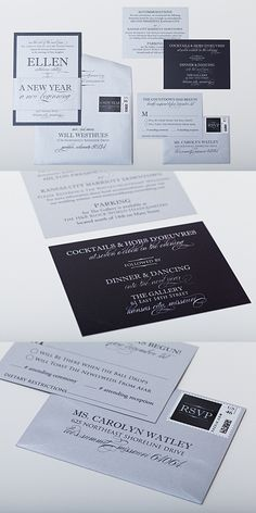 New Year's Eve wedding invitations are simply gorgeous when designed with typography instead of graphic. The fonts add an elegant but fun look to your invitations. These invitations were designed with silver and black with custom postag.e stamps Click to see more New Year's Eve ideas or pin for later!
