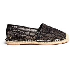 Windsor Smith 'Balmoral' lace espadrilles (80.235 CRC) ❤ liked on Polyvore featuring shoes, sandals, black, black espadrilles, floral flats, black flats, black shoes and lace espadrille flats