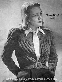 The Vintage Pattern Files: 1940's Knitting - The Date Maker Cardigan