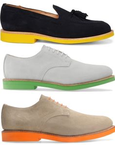 The big trend. Colored soles on mens dress shoes. The problem is you see some cool stuff but where do you get it AND find it it for less than a fortune.