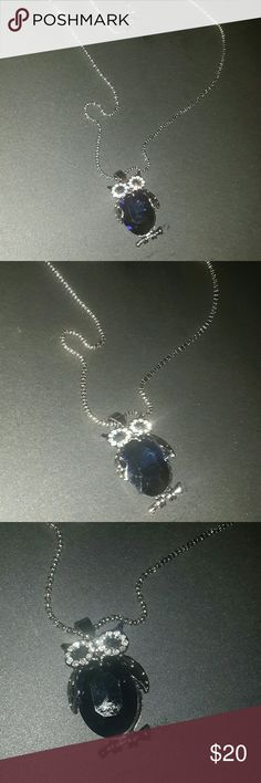 """Beautiful Owl necklace Owl necklace with blue sapphire eyes and belly. Makes a great gift. Hangs 13"""" around neck Jewelry Necklaces"""
