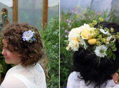 Natural seasonal wedding hair flowers from The Garden Gate Flower Company