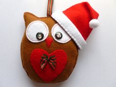 Christmas Felt Owl Hanging Decoration - Handmade