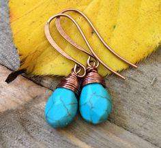 Min Favorit Blue Turquoise Briolette w/ Antique Copper Wrap Earrings NEW FALL…