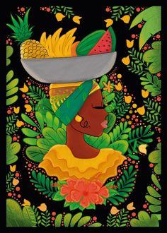 Ilustración  mujer palenquera. Cartagena de Indias.  Colombia.  Identidad. #Ilustracionpalenquera #Palenquera #Cartagena #Ilustracion