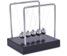 NEWTONS CRADLE This has to be one of the most interesting desktop accessories created. The Newtons Cradle demonstrates the conservation of momentum and energy using a series of swinging spheres. Its features include 5 silver balls and a black wooden base. Newton's Cradle, Bosses Day Gifts, Energy Use, Desktop Accessories, Corporate Gifts, Conservation, Balls, Gift Ideas, Silver