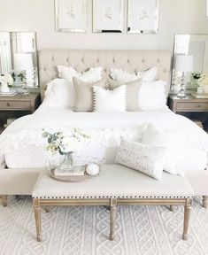 33 The Best White Master Bedroom Design And Decoration Ideas - The master bedroo. - master bedroom ideas - 33 The Best White Master Bedroom Design And Decoration Ideas – The master bedroom is the highligh - Master Bedroom Design, Dream Bedroom, Home Decor Bedroom, Modern Bedroom, Contemporary Bedroom, Master Suite, Bedroom Designs, White Bedrooms, Neutral Bedrooms