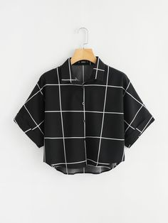 SheIn offers Cuffed Sleeve Grid Shirt & more to fit your fashionable needs. SheIn offers Cuffed Sleeve Grid Shirt & more to fit your fashionable needs. Teen Fashion Outfits, Mode Outfits, Girl Outfits, Casual Outfits, Fashion Dresses, Fashion Styles, Fashion Women, High Fashion, Fashion Trends