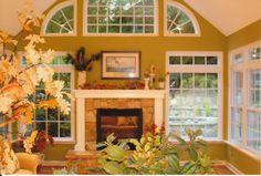 Four season sunroom with fireplace