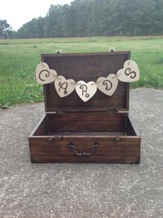 Wooden Card Box Suitcase Card Holder Rustic Wedding via Etsy