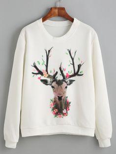 Sudadera estampado ciervo - blanco