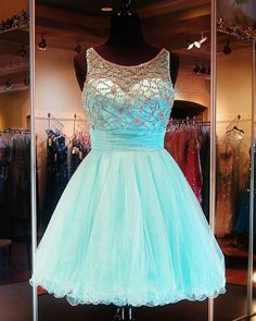 Homecoming Dresses with Crystals, Blue Homecoming Dresses, 8th Grade Formal Dresses, Dresses Short , Open Back, Girls Graduation Dress