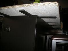 countertop island support brackets for overhangs Kitchen Countertop Materials, Granite Kitchen, Kitchen Countertops, Kitchen Redo, New Kitchen, Kitchen Island Overhang, Best Kitchen Designs, Thing 1, Cool Kitchens