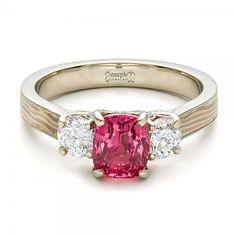 Custom Sapphire, Diamond and Mokume Engagement Ring