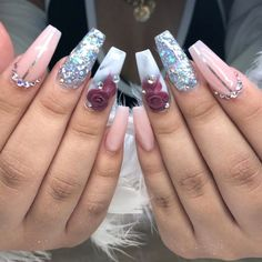 Brilliant Gel Nail Designs For Women Sparkly Nails, Prom Nails, Bling Nails, 3d Nails, Pastel Nails, 3d Nail Designs, Acrylic Nail Designs, Gorgeous Nails, Pretty Nails